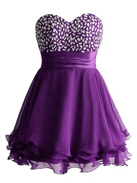 Sweetheart Beading Lace-up Short Homecoming Dress & quality Homecoming Dresses