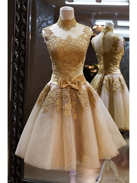 Hot Sale Vintage High Neck Bowknot Lace Cocktail Dress & unusual Homecoming Dresses