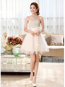 Pretty A-Line Strapless Flowers Lace-up Short-Length Sweet 16 Dress & Homecoming Dresses under 100