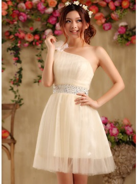 Cute One-Shoulder Flower Sequins Lace-up Short-length Sweet 16 Dress & Homecoming Dresses from china
