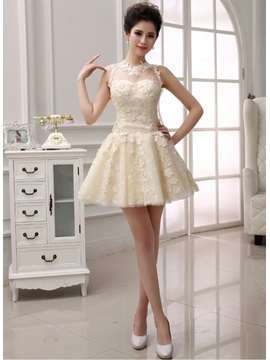 Pretty A-Line Jewel Neck Lace Appliques Short Homecoming Dress & cheap Homecoming Dresses