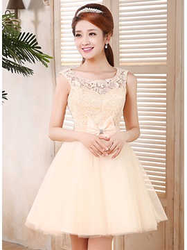 A-Line Lace Bowknot Scoop Neckline Straps Short 16/Homecoming Dress & Homecoming Dresses for less