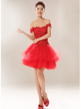 Appliques Off-the-Shoulder A-Line Short Lace-up Homecoming Dress & elegant Homecoming Dresses