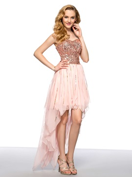 Modern Asymmetrical Sweetheart Sequins Short Homecoming Dress & Homecoming Dresses under 500
