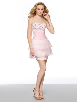 Classy Sweetheart Beading Sequins Column Lace-up Short Homecoming Dress & Homecoming Dresses from china