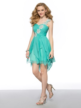 Cool One-Shoulder Appliques Beading Short A-Line Homecoming Dress & elegant Homecoming Dresses