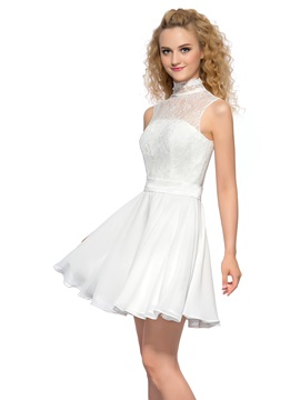 Pure High Neck Lace Pearls A-Line Short Homecoming Dress & petite Homecoming Dresses
