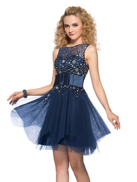 Latest Tulle Neckline Beading Sequins A-Line Short Cocktail Dress & Homecoming Dresses for less