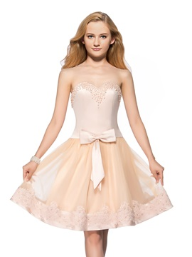 Vigorous A-Line Sweetheart Pearls Appliques Bowknot Knee-Length Homecoming Dress & Homecoming Dresses 2012