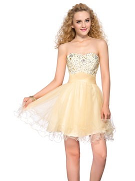 Latest Sweetheart Beading Sequins Lace-up Short Homecoming Dress & informal Homecoming Dresses