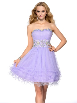 Sweetheart Beading Tiered Lace-up Short-Length Homecoming Dress & Homecoming Dresses under 100