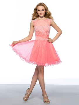 Great A-Line Pearls Beading Tulle Neckline Short Homecoming Dress & Homecoming Dresses on sale