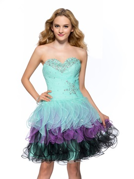 Smart Sweetheart Ruched Beading Tiered Short-Length Homecoming Dress & colored Homecoming Dresses