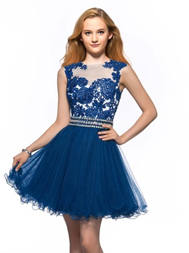 A-Line Jewel Neck Appliques Sequins Short Homecoming Dress & Homecoming Dresses on sale