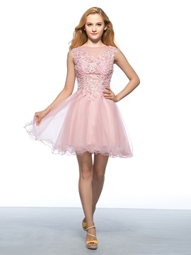 Dazzling Bateau Neck Appliques Beading Short Homecoming Dress & petite Homecoming Dresses