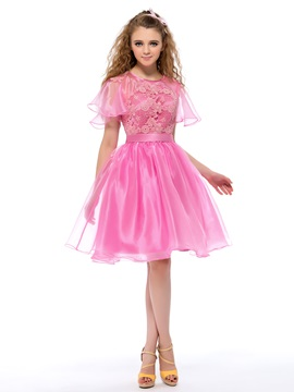 Nice Lace Short Sleeves A-Line Short Homecoming/Sweet 16 Dress & Homecoming Dresses for sale