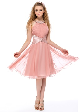 Fine Halter A-Line Beading Ruched Knee Length Homecoming Dress & Homecoming Dresses on sale