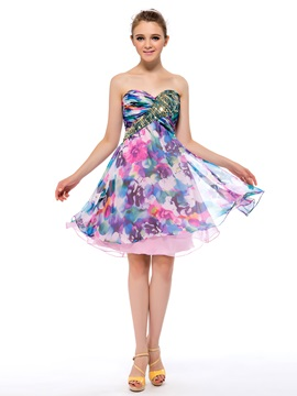 Classy Floral Printing Sequins Sweetheart A-Line Short Homecoming Dress & Homecoming Dresses under 300