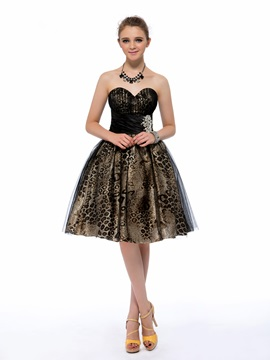 Cool A-Line Sweetheart Crystal Leopard Print Knee-length Homecoming/Cocktail Dress & attractive Homecoming Dresses