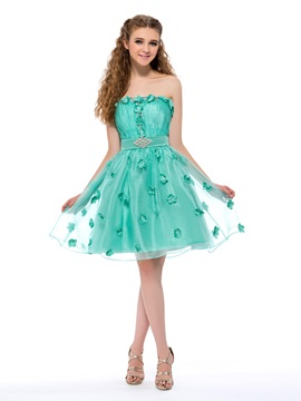 Enchanting A-Line Strapless Flowers Beading Short Homecoming Dress & Homecoming Dresses under 100