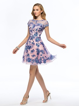 Fine Bateau Neckline Sequined Appliques Short Sleeves Short Homecoming Dress & Homecoming Dresses 2012