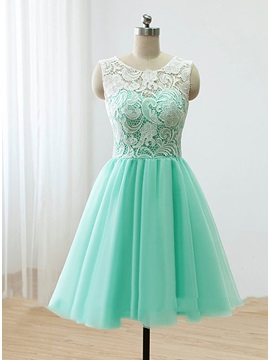 Hot Sale Scoop Neck Button Short Lace Prom Dress & casual Homecoming Dresses