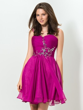 Modern Sweetheart Straps Beaded Short Homecoming Dress & romantic Homecoming Dresses