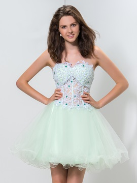 Fancy Sweetheart Appliques Beaded A-Line Short Tulle Homecoming Dress & inexpensive Homecoming Dresses