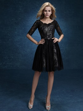 Casual Half Sleeve A-Line Knee-Length Lace Black Homecoming Dress & cheap Homecoming Dresses