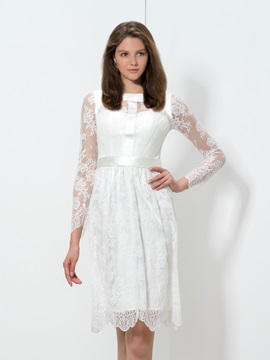 Simple Square Neckline Long Sleeve Knee-Length Lace Homecoming Dress & inexpensive Homecoming Dresses