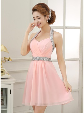 Hot Sale Halter Beading Sequins Short Homecoming Dress & fairytale Homecoming Dresses