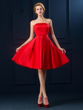 Simple Strapless A-Line Bowknot A-Line Knee-Length Homecoming Dress & fairytale Homecoming Dresses