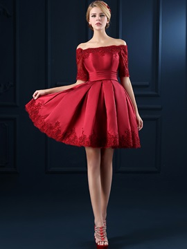 Fancy Off the Shoulder Half Sleeves Appliques Short Cocktail Dress & Homecoming Dresses under 100