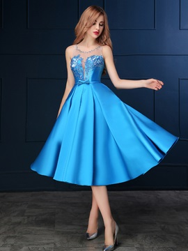 Chic Straps Beading Bowknot Embroidery Tea-Length Homecoming Dress & Homecoming Dresses under 500