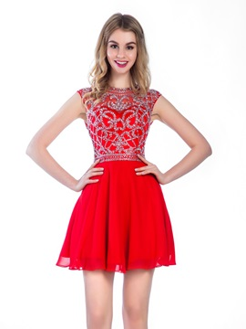 Modern Hollow Beading Short Red Homecoming Dress & cheap Homecoming Dresses
