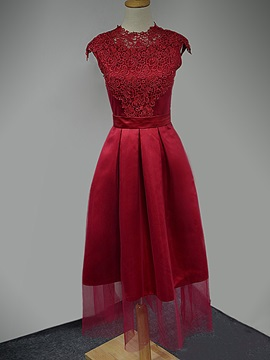 Fancy Cap Sleeves A-Line Lace Tea-Length Homecoming Dress & romantic Homecoming Dresses
