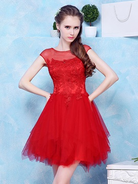 Illusion Neck Cap Sleeves Appliques Red Homecoming Dress & affordable Homecoming Dresses