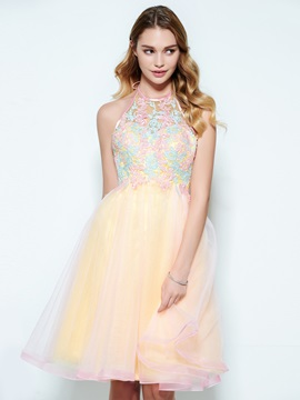 Halter Appliques A-Line Backless Short Homecoming Dress & Homecoming Dresses for less