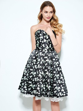 Modern Sweetheart Hollow Floral Print Homecoming Dress & fairytale Homecoming Dresses
