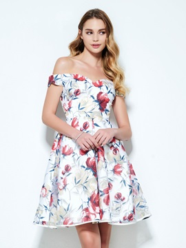 Pretty Off the Shoulder Short Print Homecoming Dress & vintage Homecoming Dresses