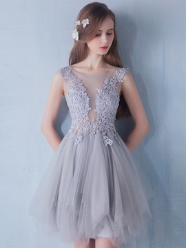 Fancy Straps Appliques Tulle Short Homecoming Dress