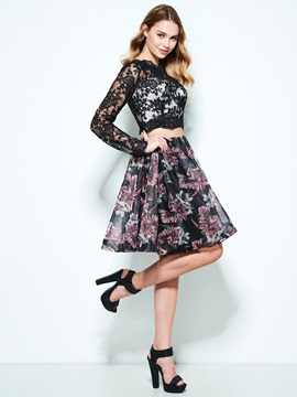 Lace Long Sleeves Print Two Piece Homecoming Dress & vintage style Homecoming Dresses