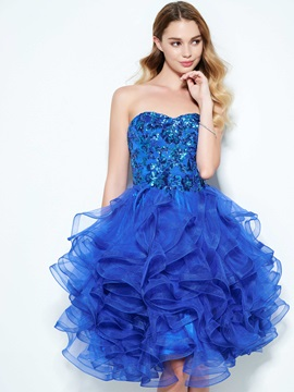 Attractive Sweetheart Ruffles Sequins Homecoming Dress & simple Homecoming Dresses