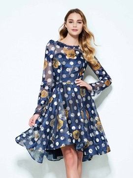 Long Sleeves Backless Knee-Length Print Homecoming Dress & Homecoming Dresses under 500