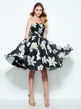 Strapless A-Line Pleats Print Homecoming Dress & elegant Homecoming Dresses