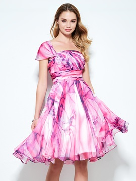 Modern One Shoulder Pleats Print Homecoming Dress & Homecoming Dresses on sale