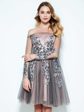 Off the Shoulder Button Sequins Appliques Homecoming Dress & Homecoming Dresses under 100