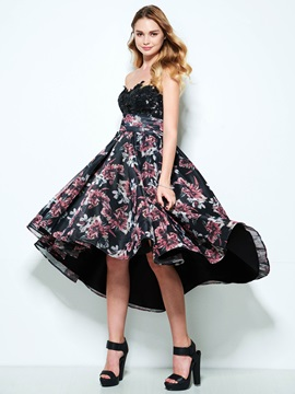 Strapless Sequins A-Line High Low Print Homecoming Dress & vintage style Homecoming Dresses
