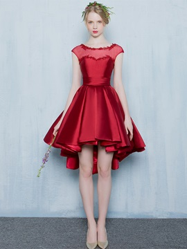 Chic Scoop Neck Appliques Cap Sleeves High Low Homecoming Dress & unusual Homecoming Dresses