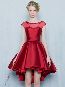 Chic Scoop Neck Appliques Cap Sleeves High Low Homecoming Dress & Homecoming Dresses from china
